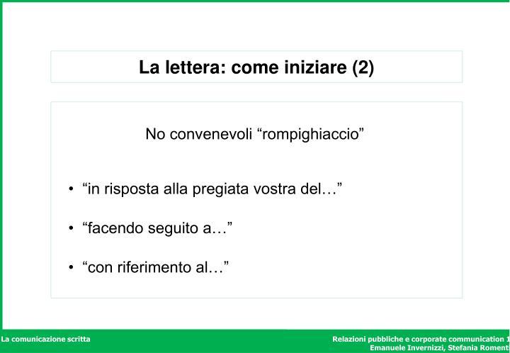 La lettera: come iniziare (2)