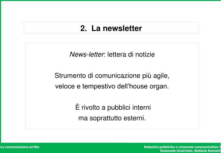 2.  La newsletter