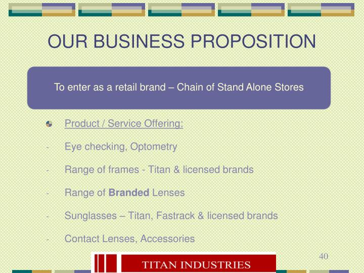To enter as a retail brand – Chain of Stand Alone Stores