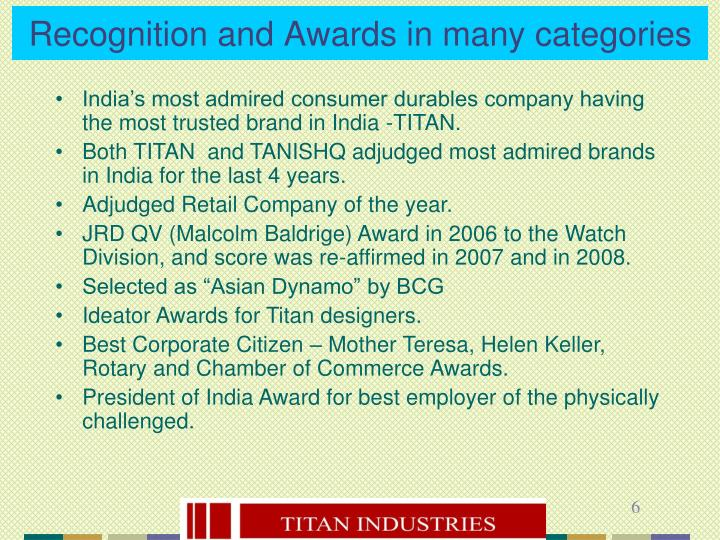 Recognition and Awards in many categories