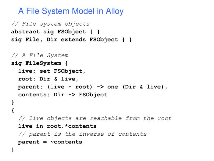 A File System Model in Alloy