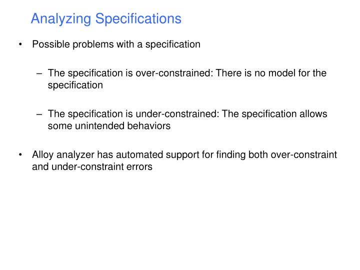 Analyzing Specifications