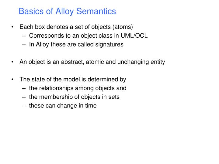 Basics of Alloy Semantics