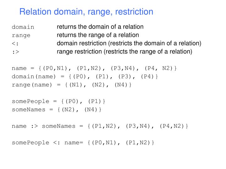Relation domain, range, restriction