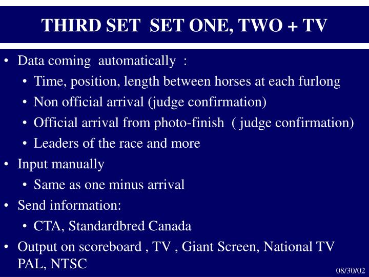 THIRD SET  SET ONE, TWO + TV