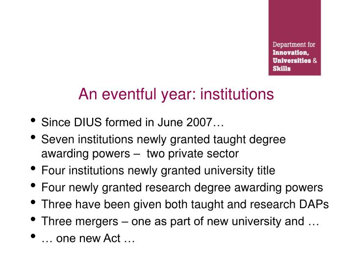 An eventful year: institutions