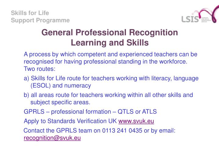 General Professional Recognition