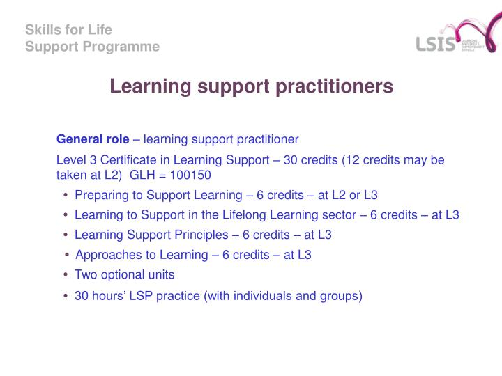 Learning support practitioners