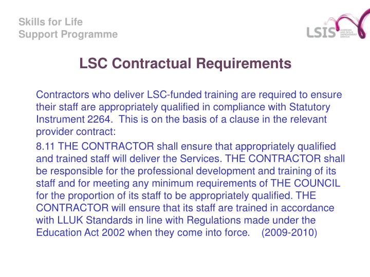 LSC Contractual Requirements