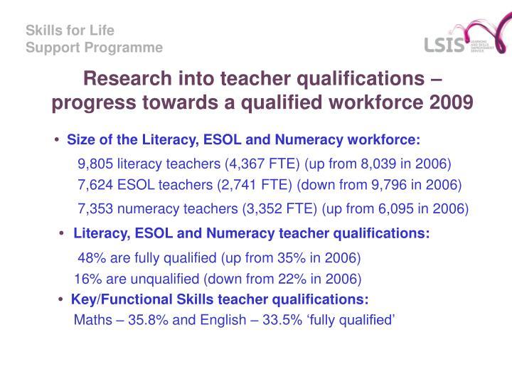 Research into teacher qualifications – progress