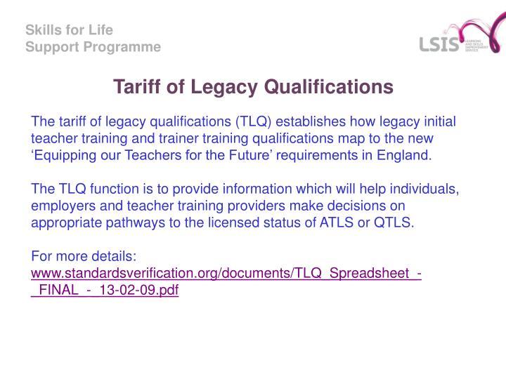 Tariff of Legacy Qualifications