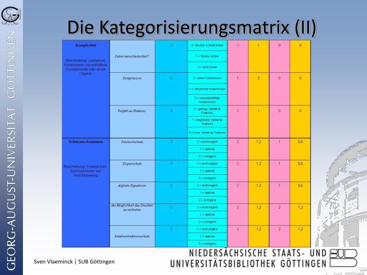 Die Kategorisierungsmatrix (II)