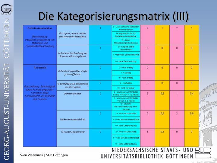 Die Kategorisierungsmatrix (III)