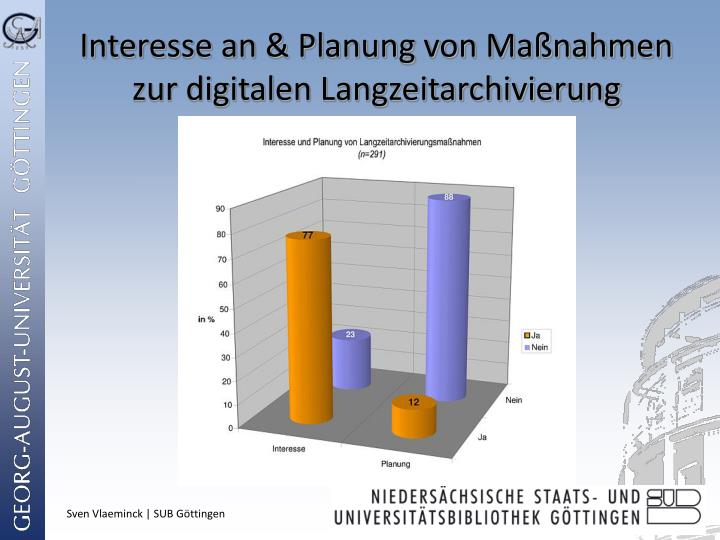 Interesse an & Planung von Maßnahmen zur digitalen Langzeitarchivierung
