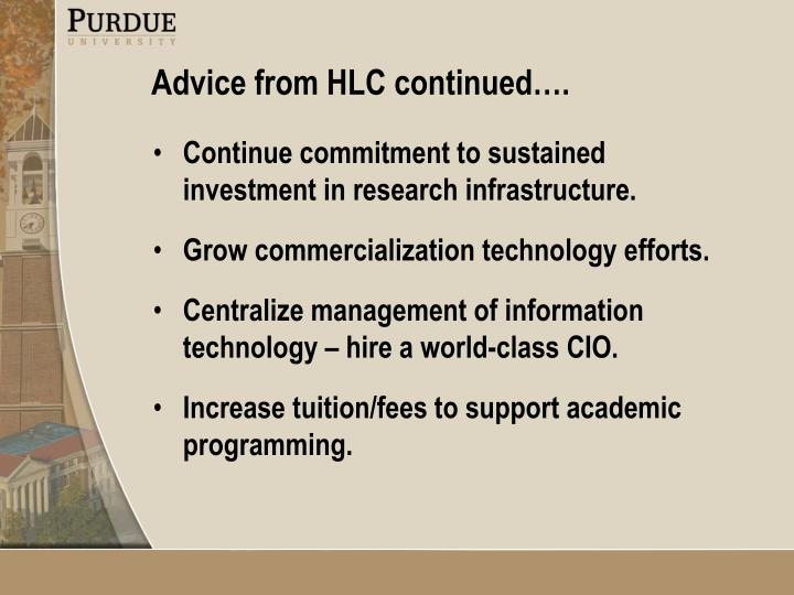 Continue commitment to sustained investment in research infrastructure.