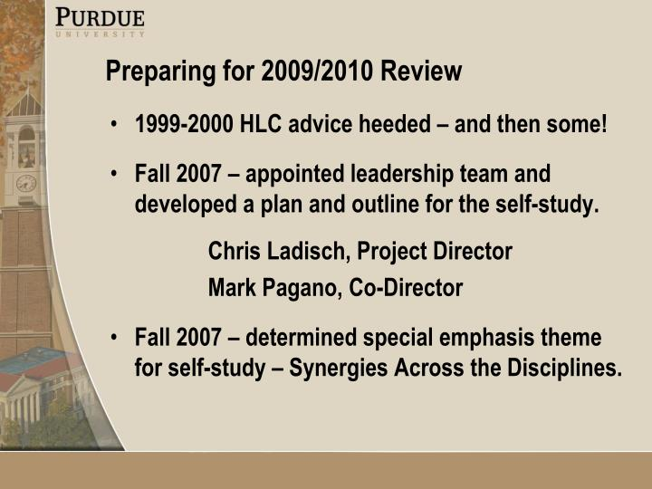 1999-2000 HLC advice heeded – and then some!