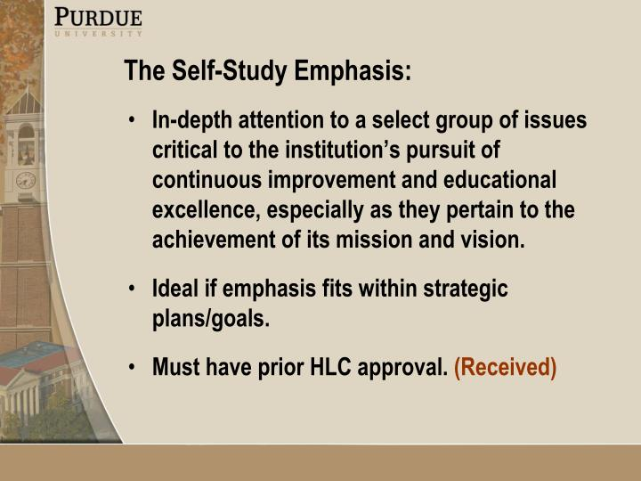 In-depth attention to a select group of issues critical to the institution's pursuit of continuous improvement and educational excellence, especially as they pertain to the achievement of its mission and vision.