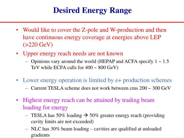 Desired Energy Range