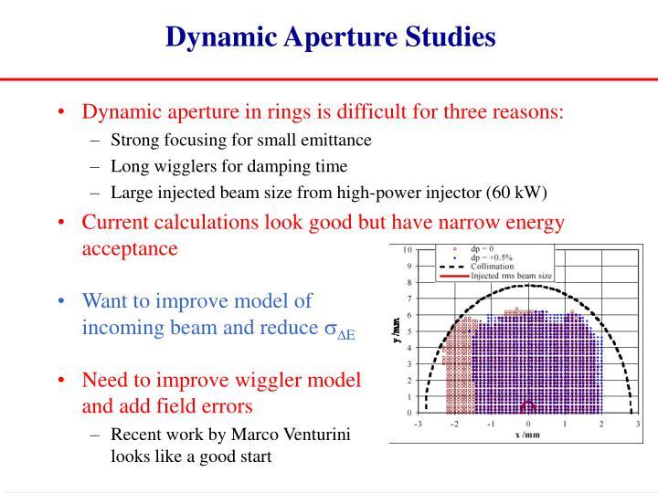 Dynamic Aperture Studies