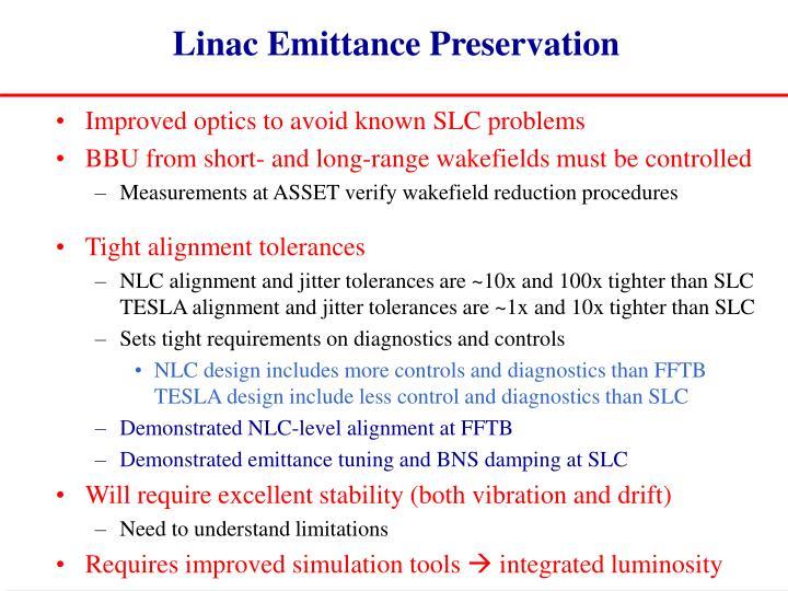 Linac Emittance Preservation
