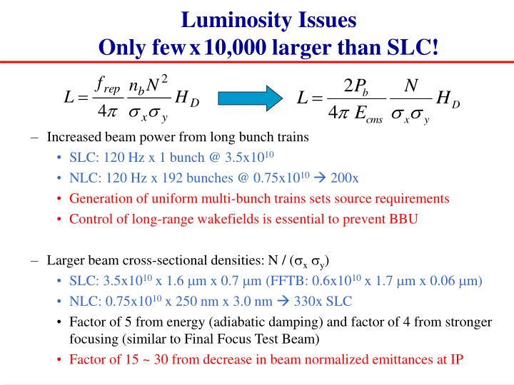 Luminosity Issues