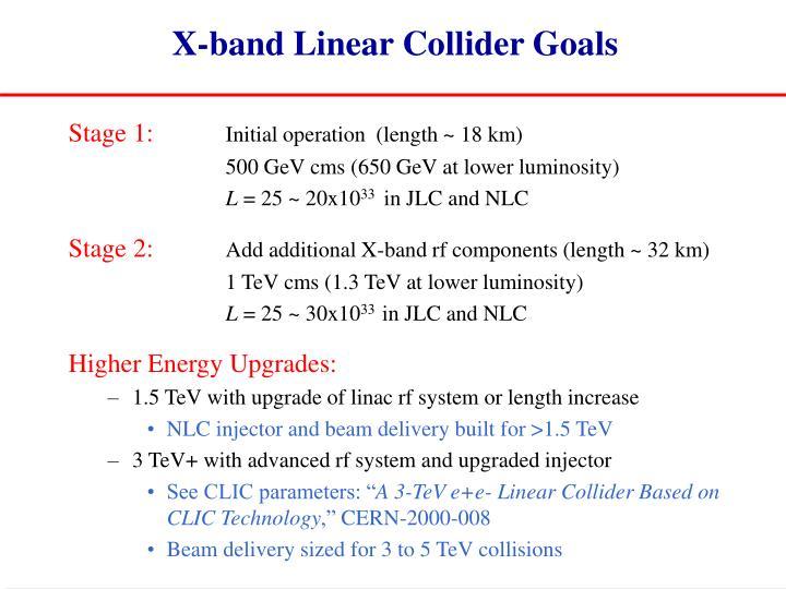 X-band Linear Collider Goals