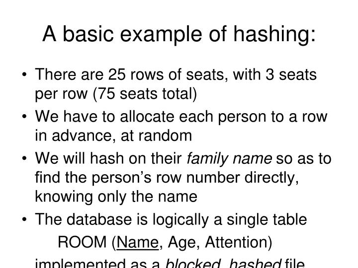 A basic example of hashing: