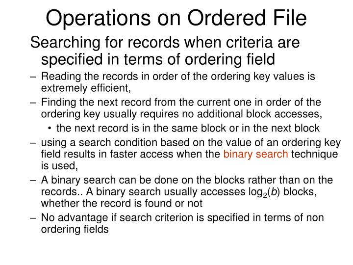 Operations on Ordered File