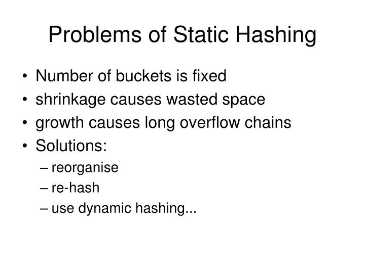 Problems of Static Hashing