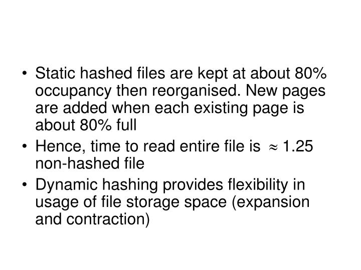 Static hashed files are kept at about 80% occupancy then reorganised. New pages are added when each existing page is about 80% full