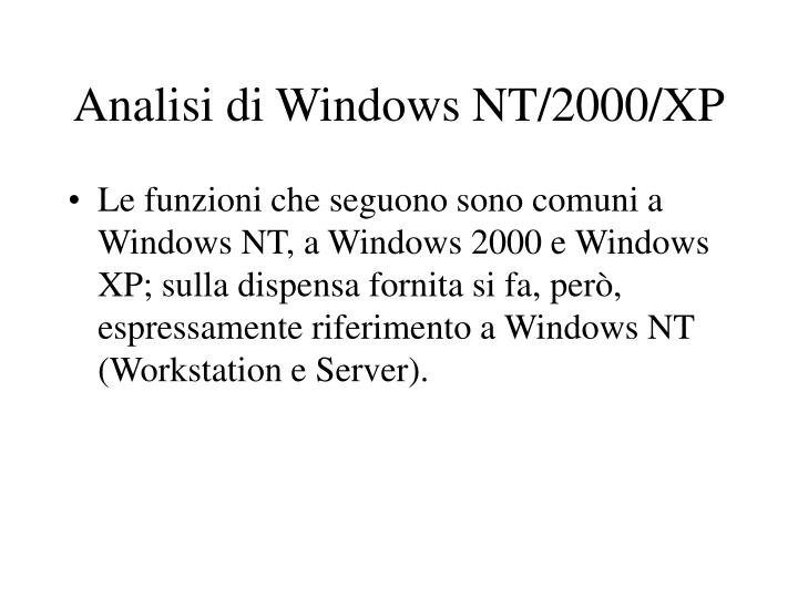 Analisi di Windows NT/2000/XP