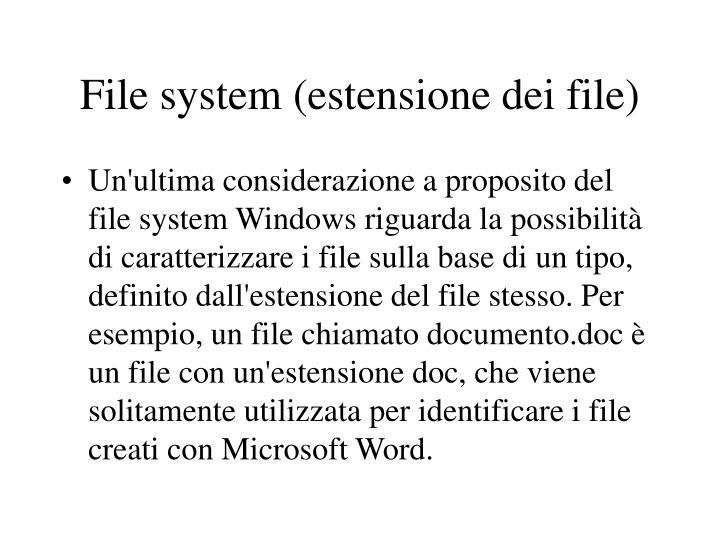 File system (estensione dei file)