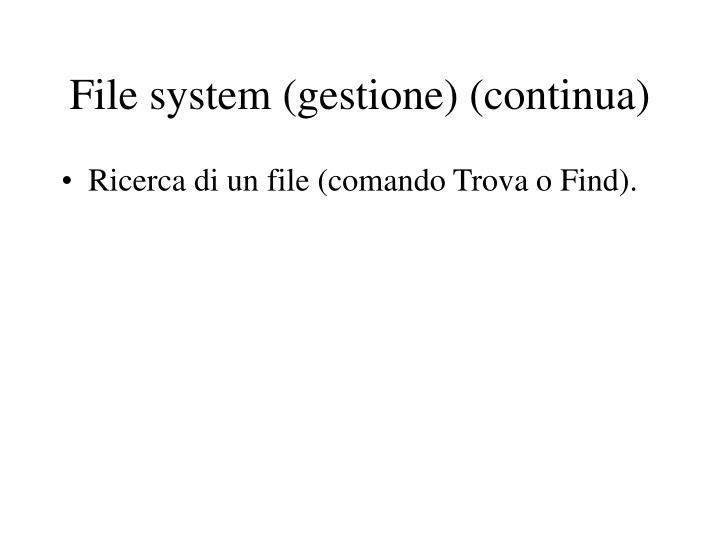 File system (gestione) (continua)
