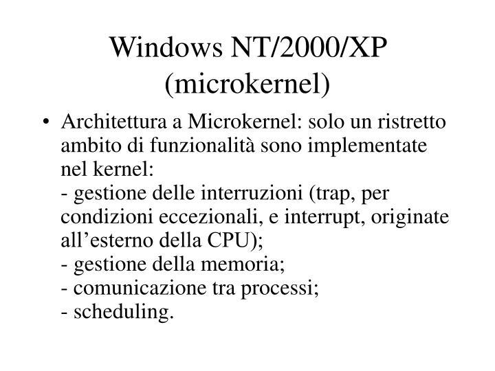 Windows NT/2000/XP (microkernel)