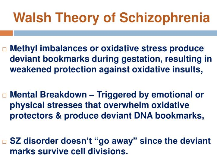 Walsh Theory of Schizophrenia