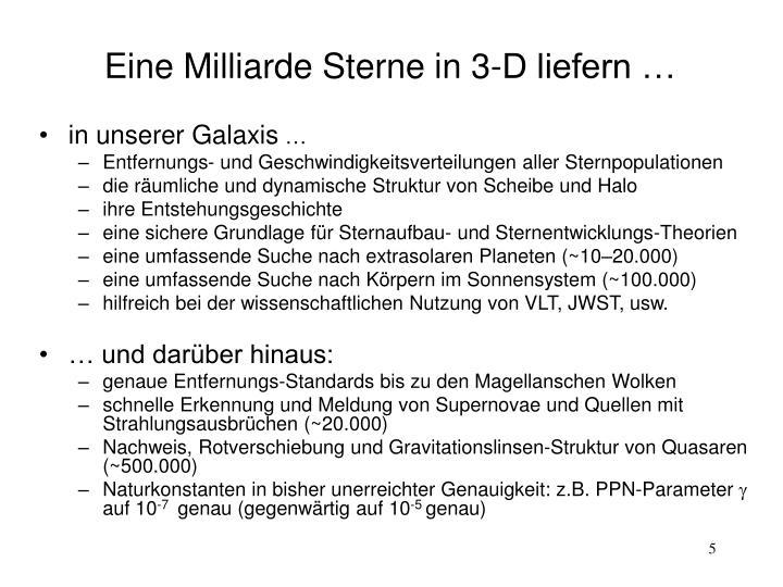 Eine Milliarde Sterne in 3-D liefern …