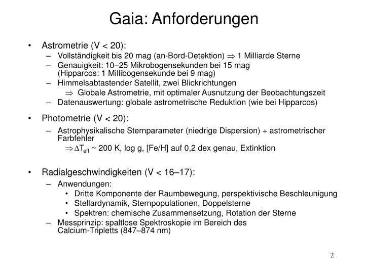 Gaia: Anforderungen