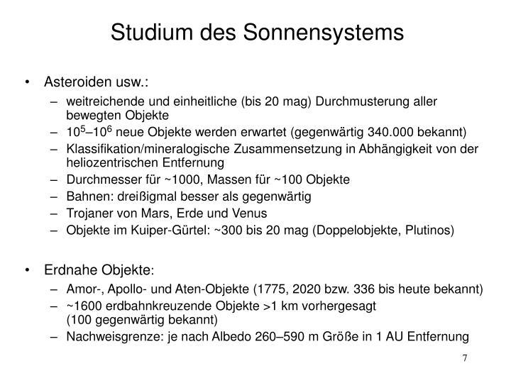 Studium des Sonnensystems