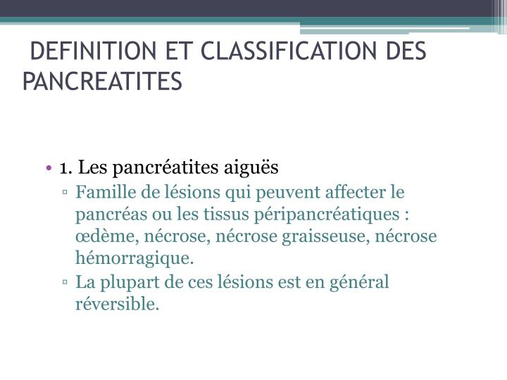 Definition et classification des pancreatites
