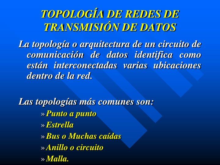 TOPOLOGÍA DE REDES DE TRANSMISIÓN DE DATOS
