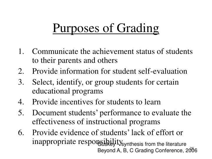 Purposes of Grading