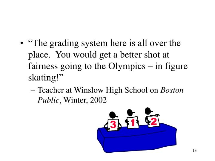 """The grading system here is all over the place.  You would get a better shot at fairness going to the Olympics – in figure skating!"""