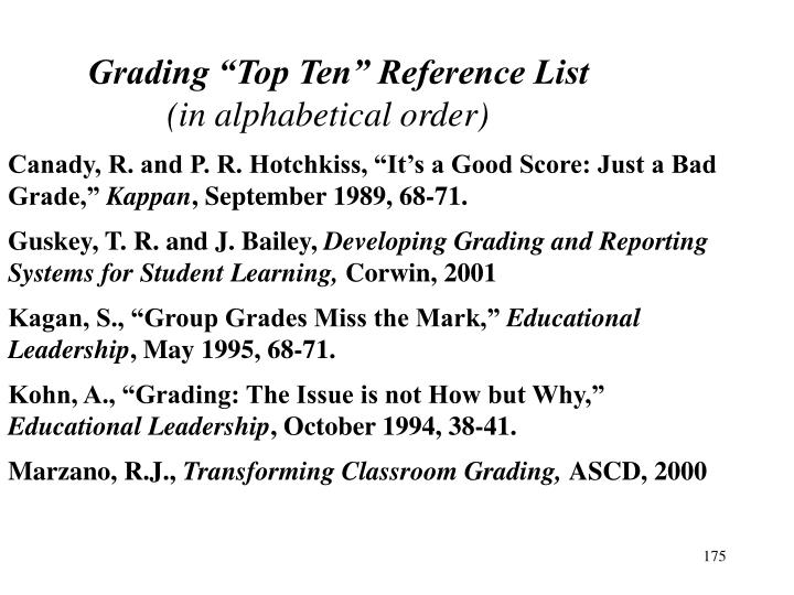 "Grading ""Top Ten"" Reference List"