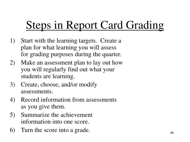 Steps in Report Card Grading