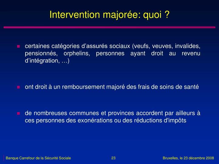 Intervention majorée: quoi ?