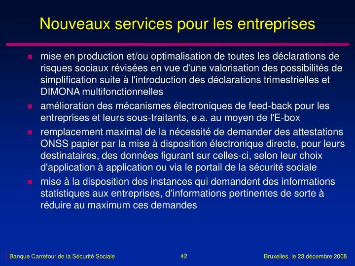 Nouveaux services pour les entreprises