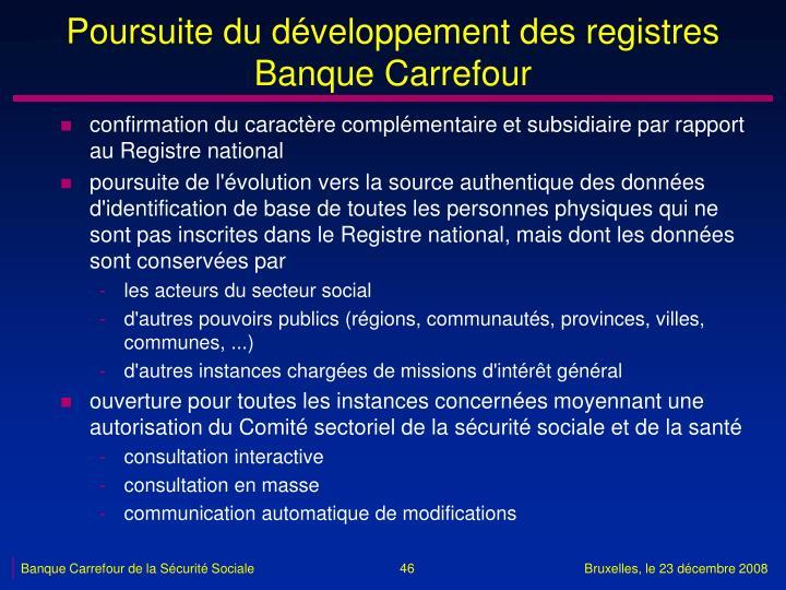 Poursuite du développement des registres Banque Carrefour