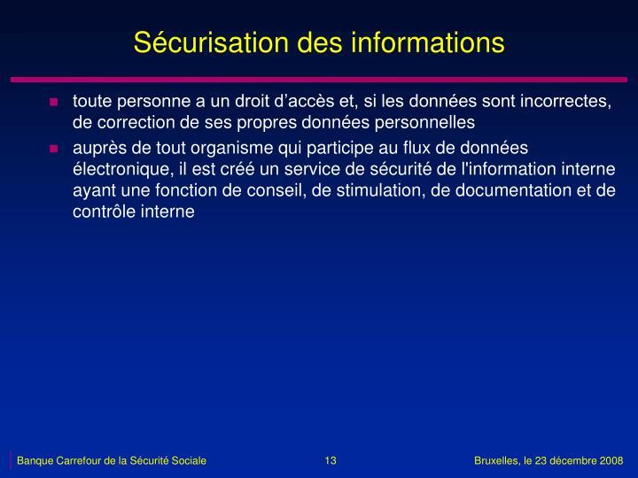 Sécurisation des informations