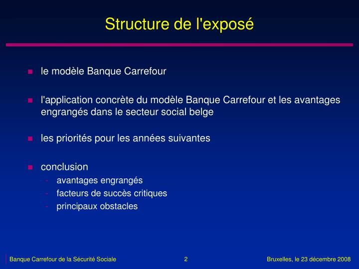 Structure de l'exposé