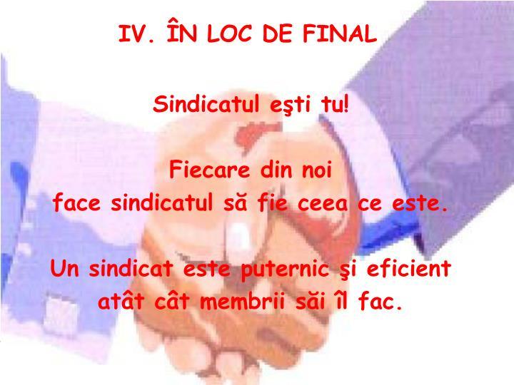 IV. ÎN LOC DE FINAL